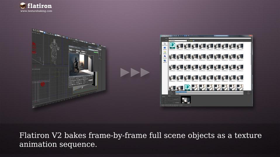 Flatiron Version 2 bakes scene textures as animation sequence