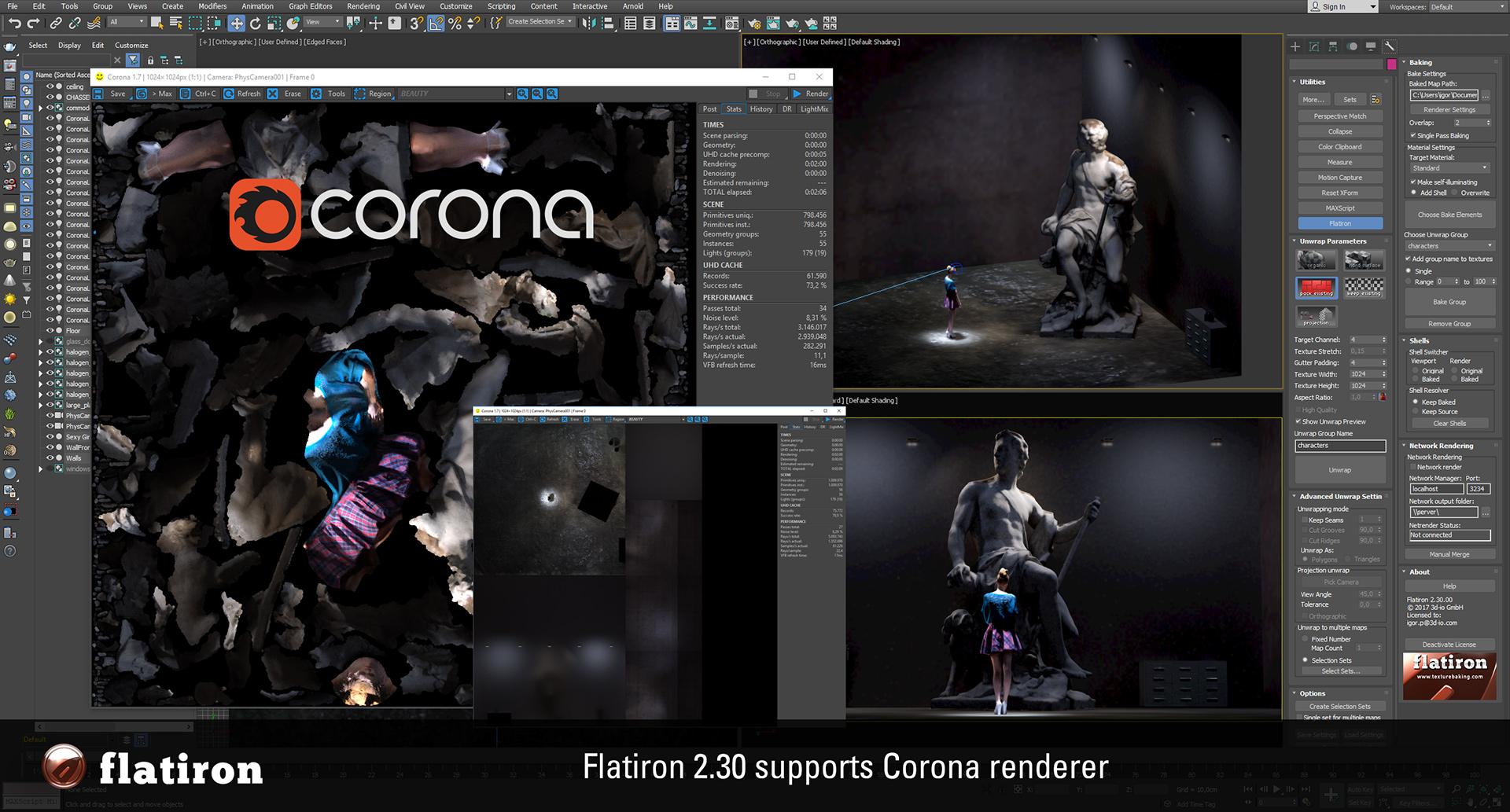 Flatiron 2.30 Corona texture baking support