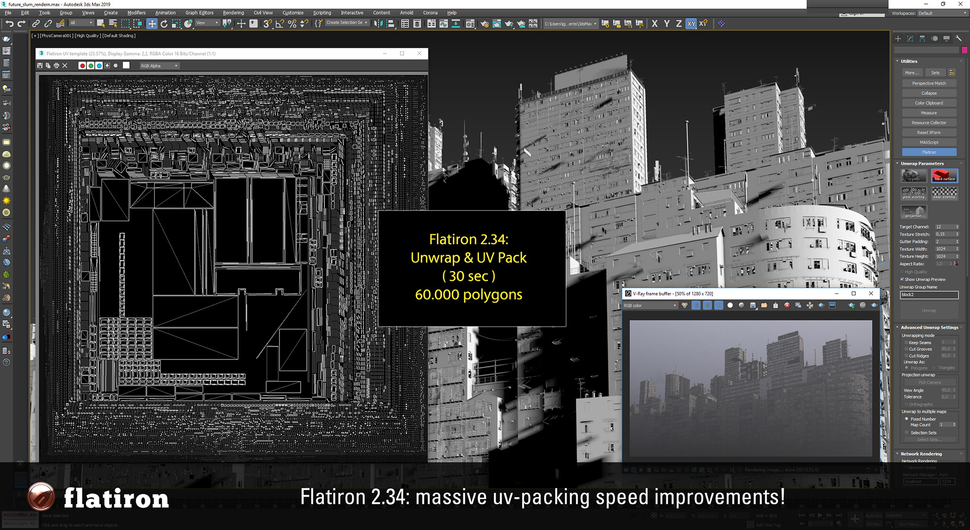 Flatiron 2.23 Projection UV Unwrapping