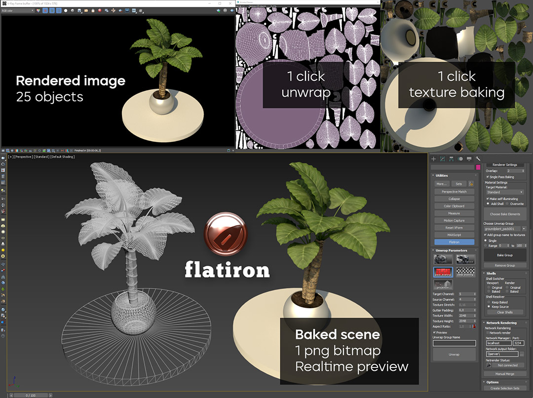 Flatiron automatic texture baking for 3D Assets