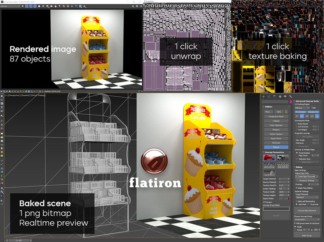 Flatiron automatic texture baking for 3D Product design